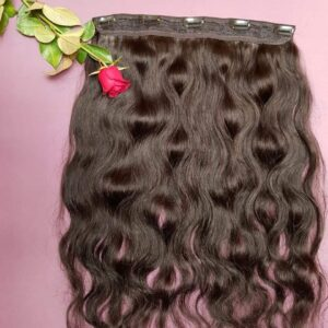 natural black body wave clip in hair wigs
